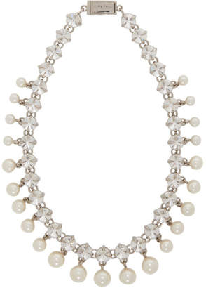 Miu Miu Silver Crystal and Pearl Choker