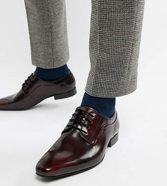Dune Wide Fit Lace Up Derby Shoes In Burgundy High Shine