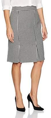 Kasper Women's Classic Houndstooth Slim Skirt with Slits