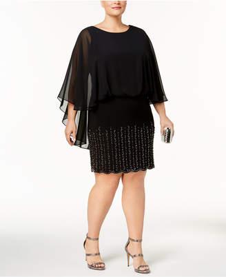 Xscape Evenings Plus Size Embellished Cape Dress
