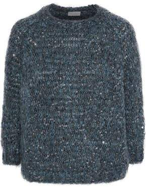 Brunello Cucinelli Sequin-Embellished Marled Bouclé-Knit Sweater