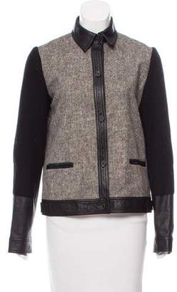 Alexander Wang Leather-Trimmed Button-Up Jacket
