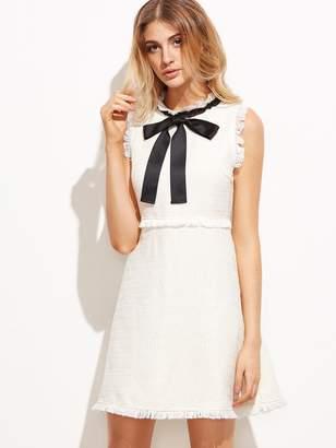 8d9db64d4f8566 Shein Bow Tie Neck Frayed Trim Tweed Dress