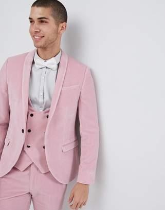 Noose & Monkey super skinny suit jacket in pink velvet