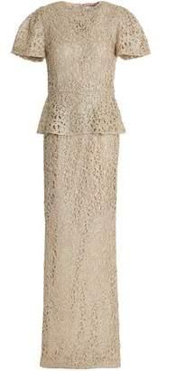 Rachel Gilbert Iona Beaded Metallic Lace Peplum Gown