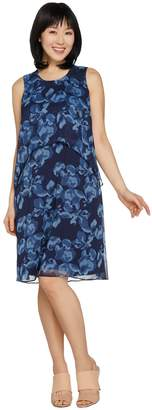 Halston H By H by Regular Sleeveless Floral Printed Chiffon Dress