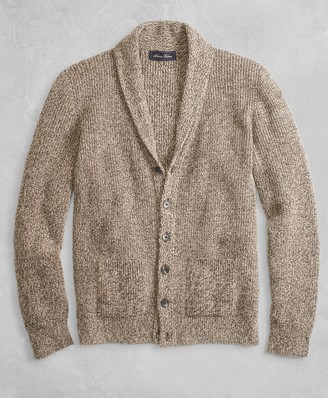 Brooks Brothers Golden Fleece 3-D Knit Marled Alpaca-Blend Shawl-Collar Cardigan