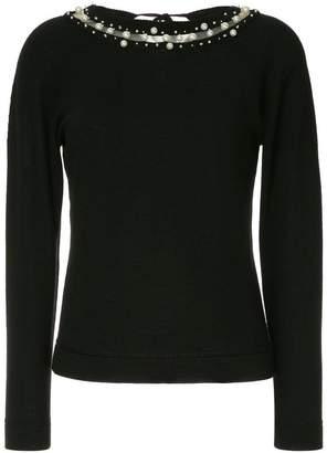 Oscar de la Renta pearl embellished sweater