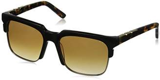 DAY Birger et Mikkelsen Pared Eyewear and Night Black with Gold Rim Wire Brown Square Sunglasses
