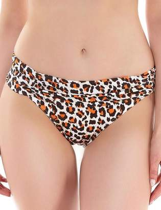 Freya Sabor Gathered Fold-Over Swim Brief, L, Animal