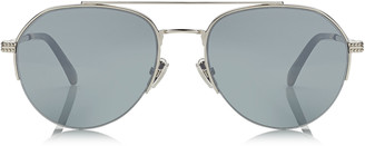 Jimmy Choo ILYA Light Gold Aviator Metal Sunglasses with Black Flash Lenses