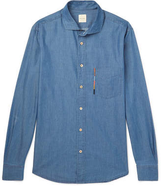 Paul Smith Soho Cutaway-Collar Embroidered Cotton And Tencel-Blend Chambray Shirt