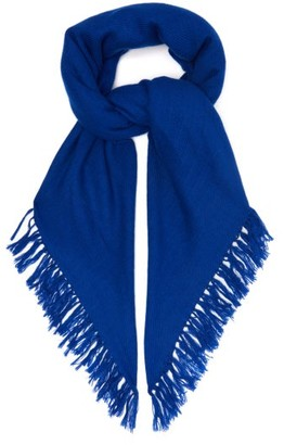 Isabel Marant Zila Cashmere And Wool Blend Frayed Scarf - Womens - Navy