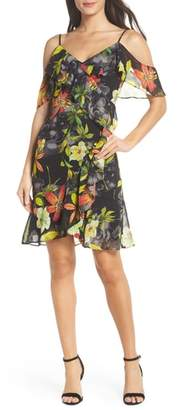 Sloane CLOVER AND Print Cold Shoulder Chiffon Dress