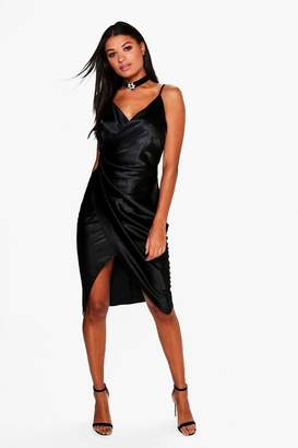 boohoo Gaynor Satin Wrap Strappy Midi Dress $44 thestylecure.com