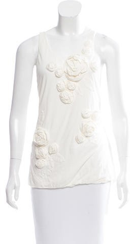 3.1 Phillip Lim 3.1 Phillip Lim Rose Appliqué Sleeveless Top