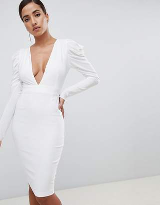 ba1530cd8a Vesper plunge front ruched sleeve midi dress in white