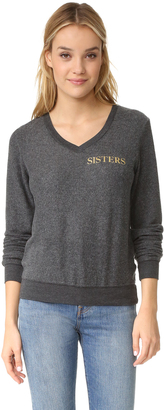 Wildfox Hey Sister Baggy Beach V Neck Sweatshirt $98 thestylecure.com
