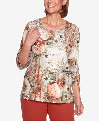 Alfred Dunner Autumn In New York Printed Embellished Top