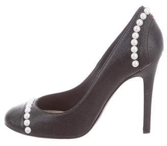 Chanel Embellished Cap-Toe Pumps