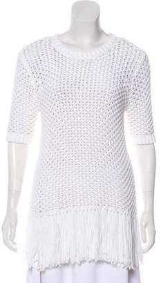 MICHAEL Michael Kors Crochet Fringe Short Sleeve Top