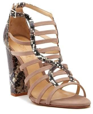 Schutz Kaye Snake Embossed Block Heel Sandal