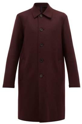Harris Wharf London Single Breasted Pressed Wool Overcoat - Mens - Burgundy