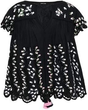 848f436b01c535 Love Sam Ava Keepsake Embellished Broderie Anglaise Cotton-blend Voile  Blouse