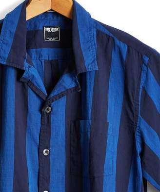 Todd Snyder Short Sleeve Awning Bold Stripe Camp Collar Shirt in Blue