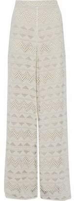 Alice + Olivia Alice+olivia Embroidered Cotton-Gauze Wide-Leg Pants