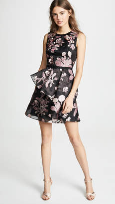 Marchesa Floral 3D Embroidered Cocktail Dress