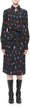 Altuzarra Long-Sleeve Feather-Print Silk Collared Wrap Dress