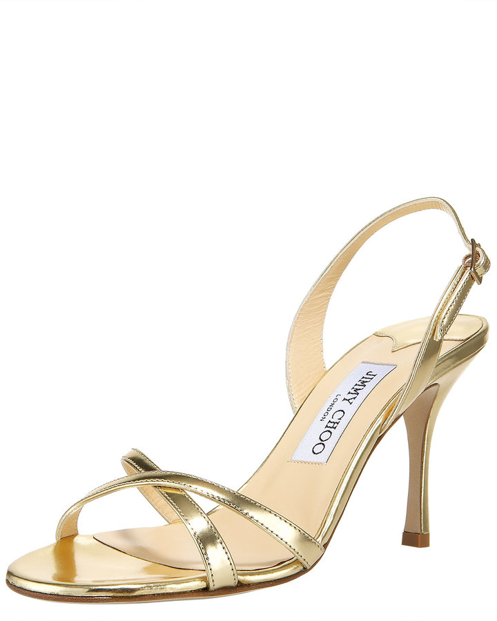 Jimmy Choo Crisscross Mirrored Sandal