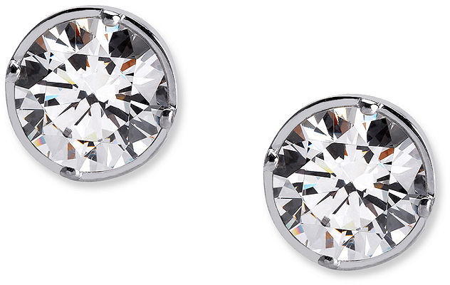 CRISLU Earrings, Platinum Over Sterling Silver Bezel Set Round Cut Cubic Zirconia Stud Earrings (4 ct. t.w.)