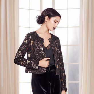 LC Lauren Conrad Runway Collection Floral Sequin Crop Jacket - Women's $120 thestylecure.com