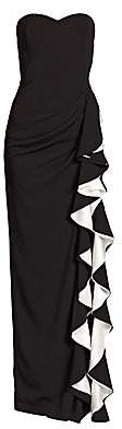 Badgley Mischka Women's Strapless Contrast Ruffle Gown - Size 0
