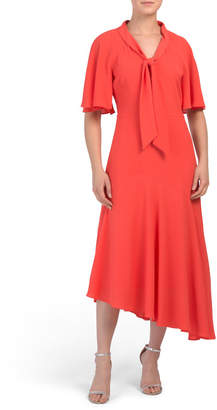 Tie Neck Asymmetrical Dress