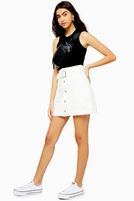 Topshop TALL White Button Down Belted Denim Skirt