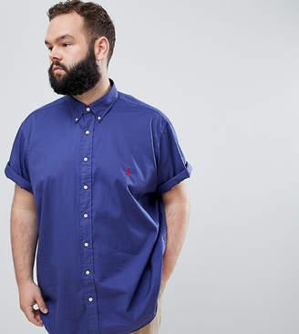 Polo Ralph Lauren Big & Tall short sleeve garment dyed shirt player logo in navy