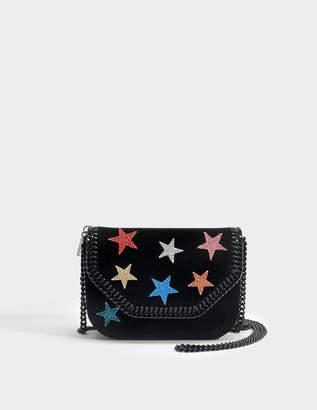 Stella McCartney Stars Glitter Mini Tote Falabella Box in Black Eco Fabric