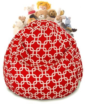 Majestic Home Goods Links Stuffed Animal Toy Storage Bean Bag Chair with Transparent Mesh Base