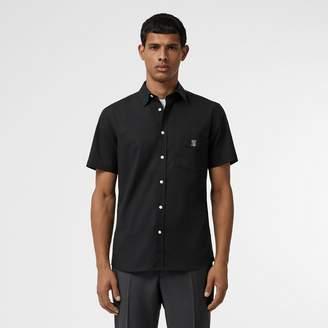 Burberry Short-sleeve Monogram Motif Stretch Cotton Shirt