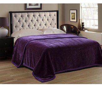 HIG Premium Heavy Blanket Purple Color with Double Layers Reversible Plush Raschel Blanket Solid Color - Supersoft, Warm, Silky, Hypoallergenic, Fade resistant in Queen Size