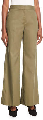 Oscar de la Renta Wide-Leg Cotton Pants