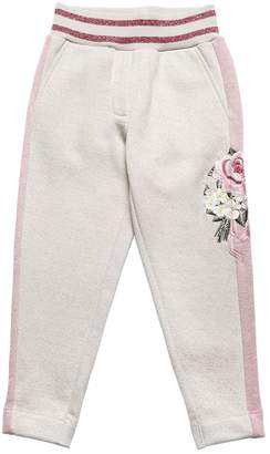 MonnaLisa Embroidered Cotton Sweatpants