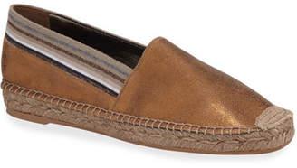 Brunello Cucinelli Metallic Leather Slip-On Espadrilles