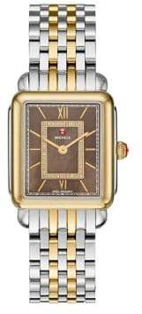 Michele Deco II Diamond, Mother-Of-Pearl& Two-Tone Stainless Steel Watch Case