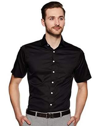 Shaftesbury London Men's Slim Fit Short Sleeves Spread Collar Dress Shirt