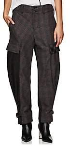 Yohji Yamamoto Regulation Women's Checked Wool-Blend Cargo Pants-Grey