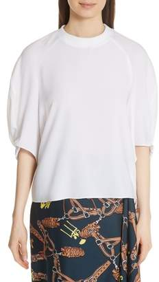 Tibi Savannah Shirred Sleeve Crepe Blouse